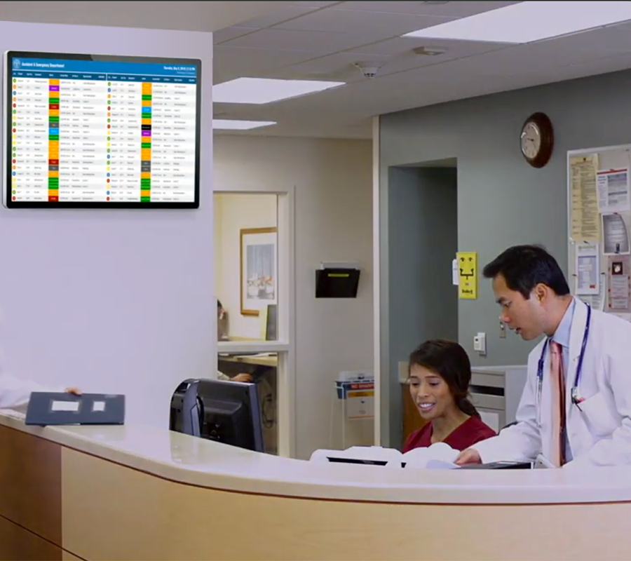 Large Screen Display Showing Color-Coded Patient Statuses & Information